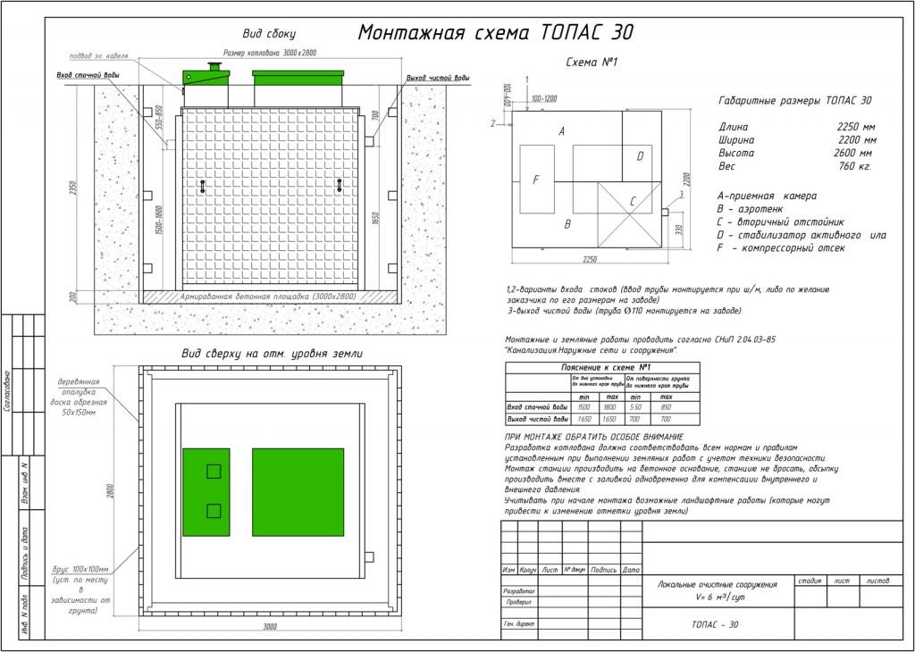 Монтажная схема Топас 30