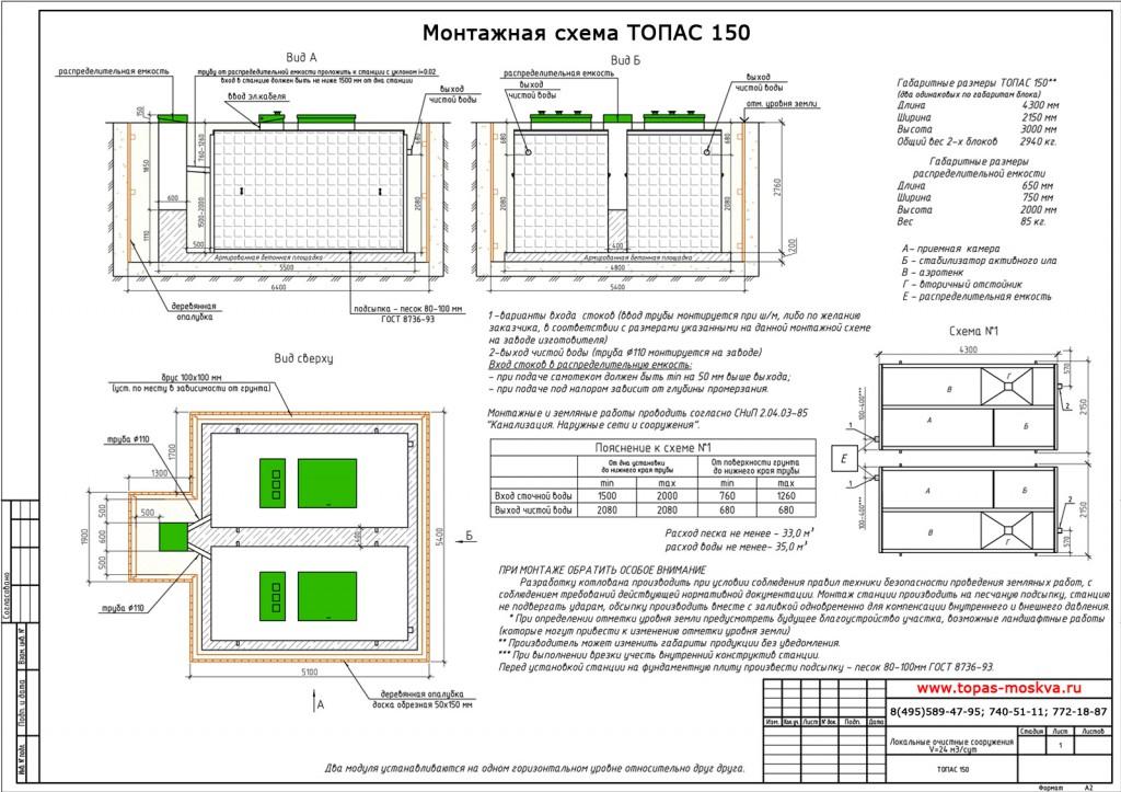 Монтажная схема Топас 150